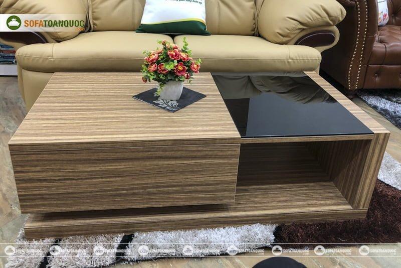 Kiểu dáng sang trọng và đẳng cấp của mẫu bàn trà gỗ mặt kính đẹp