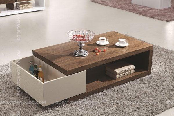 Mẫu bàn trà gỗ đẹp sang trọng cho phòng khách tiện nghi