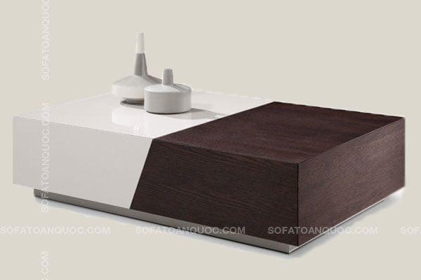Gỗ công nghiệp kết hợp gỗ tự nhiên sang trọng, vật liệu chống ẩm MDF An Cường giúp tăng vẻ thấm mỹ cho mẫu bàn trà