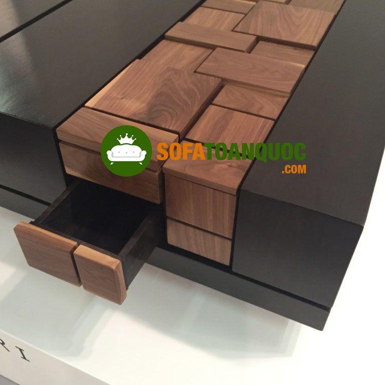Ngăn kéo được thiết kế tinh tế, giúp tăng vẻ đẹp của mẫu bàn trà cao cấp gỗ óc chó
