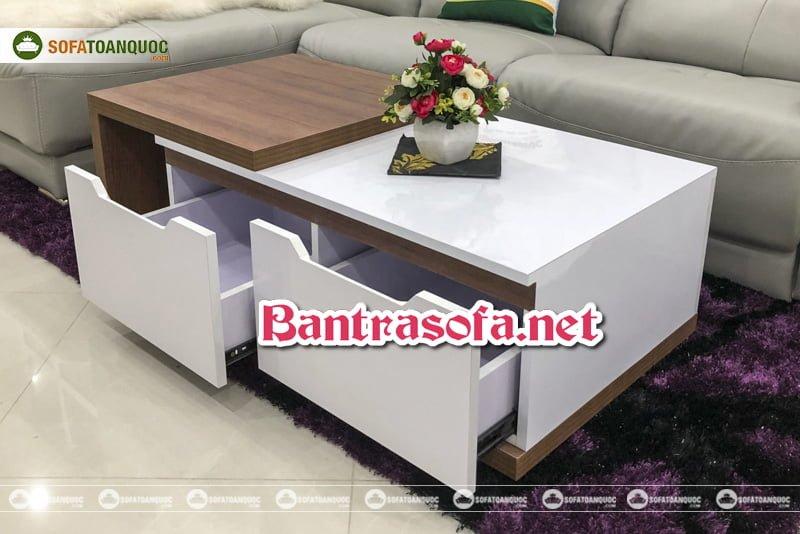 Những căn phòng lớn nên lựa chọn bàn trà mặt đá cao cấp hoặc bàn trà gỗ tạo cảm giác đầy đủ, sung túc trong căn phòng