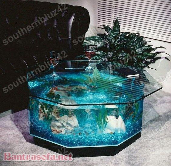 bàn trà bể cá thuỷ sinh