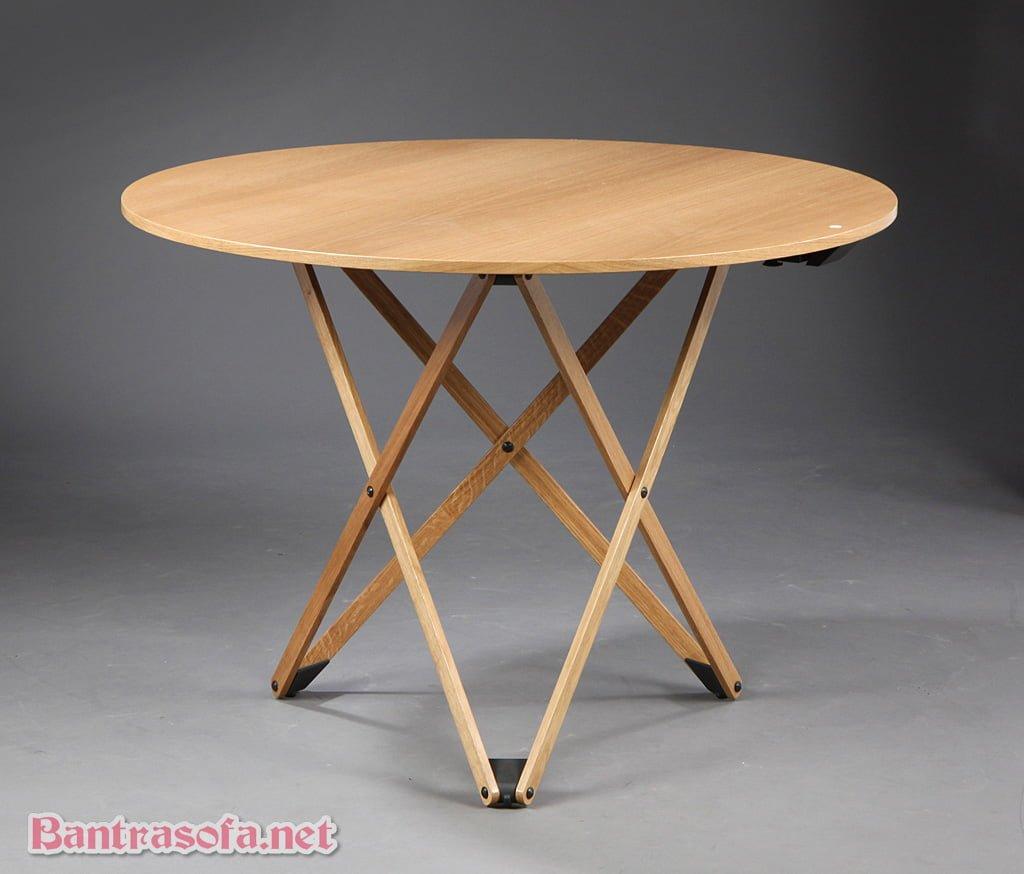 bàn trà tròn 3 chân chân gấp