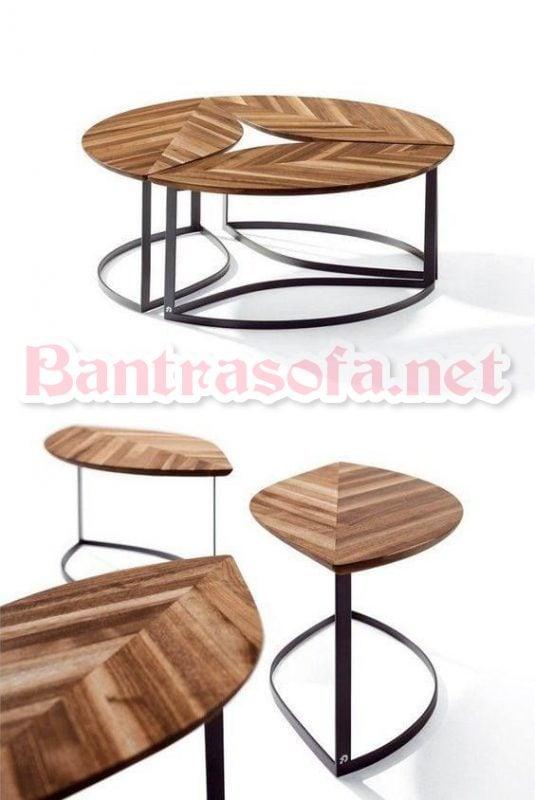 bàn trà gỗ tròn ghép đôi