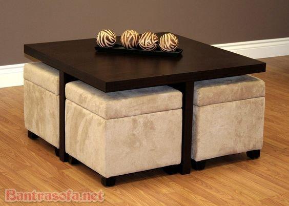 Những chiếc đôn sofa đi kèm với bàn trà. Khi không sử dụng chúng được cất gọn nhẹ cùng với bàn trà. Giúp tiết kiệm diện tích khá nhiều trong phòng khách. Tiện di chuyển và bài trí sẽ rút ngắn thời gian vệ sinh và làm sạch