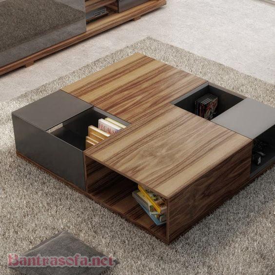 bàn trà hình vuông gỗ công nghiệp