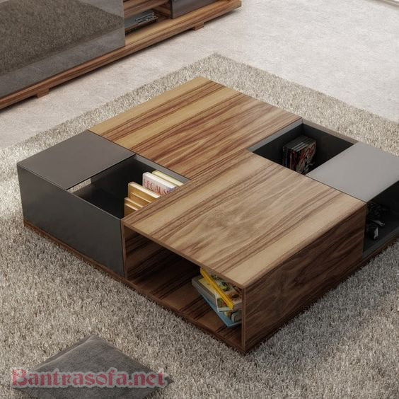 bàn trà sofa kiểu ngồi bệt trên thảm trải sàn