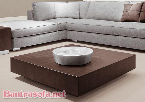 bàn trà gỗ nguyên khối hình vuông