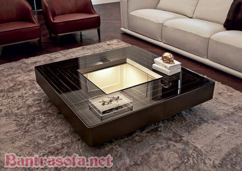 mẫu bàn trà hình vuông mặt kính chân inox đẹp