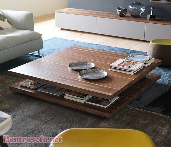 Mẫu bàn trà đẹp với chiều cao thấp chia làm 2 tầng. Tầng dưới có thể tiện dụng hơn cho gia chủ trong việc cất giữ đồ đạc, sách báo khi sử dụng