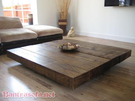 bàn trà gỗ nguyên khối vuông đẹp