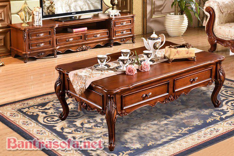 bàn trà sofa gỗ tự nhiên phong cách tân cổ điển