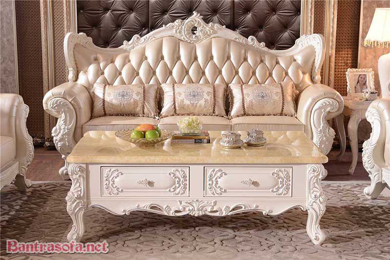 bàn trà mặt đá marble tân cổ điển