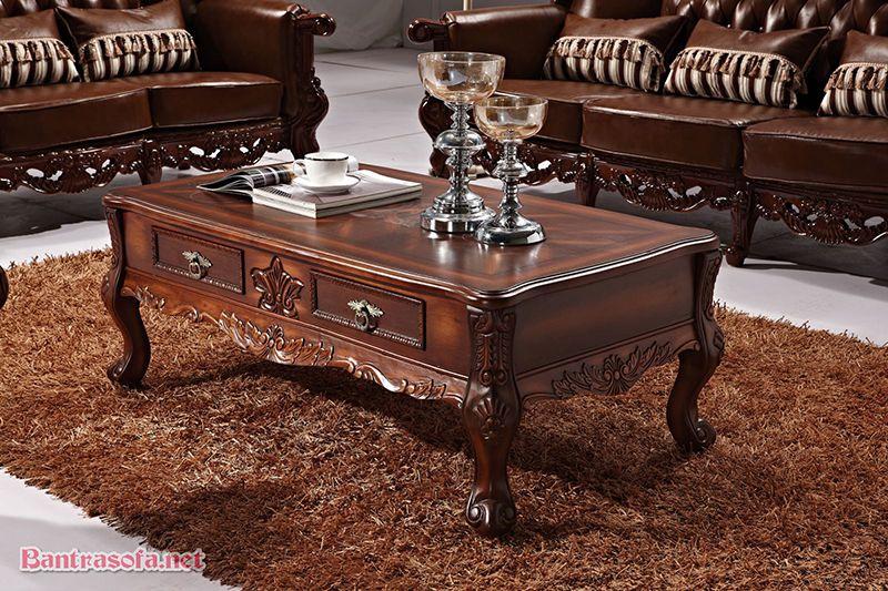 bàn sofa tân cổ điển gỗ tự nhiên