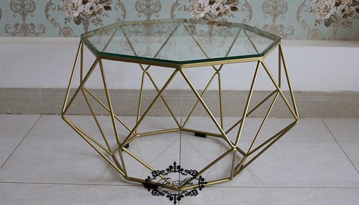 bàn trà kim cương mặt kính đẹp