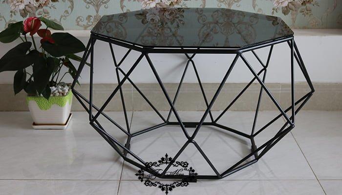 bàn trà sofa kim cương mặt kính màu đen