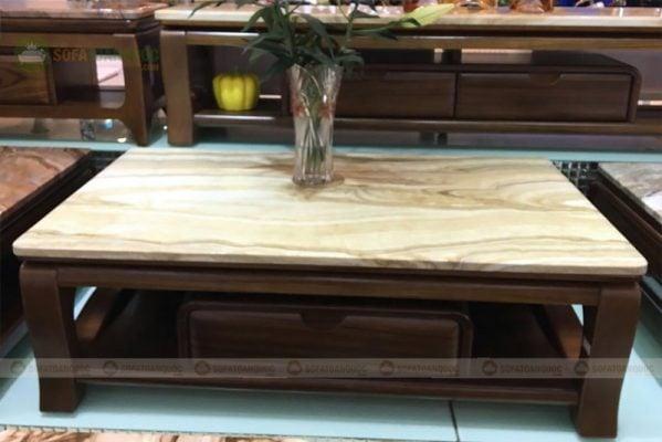 Bàn trà khung gỗ sồi tự nhiên kết hợp mặt đá marble