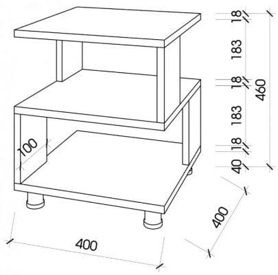 Kích thước 400x400mm sẽ giúp mẫu bàn trà sofa đẹp này thích hợp với nhiều không gian khác nhau trong phòng khách gia đình.
