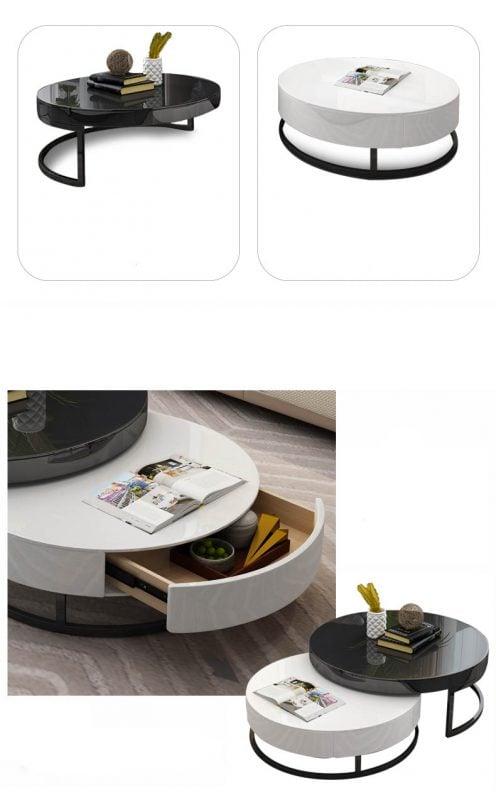 bàn trà tròn đôi ngăn kéo trượt