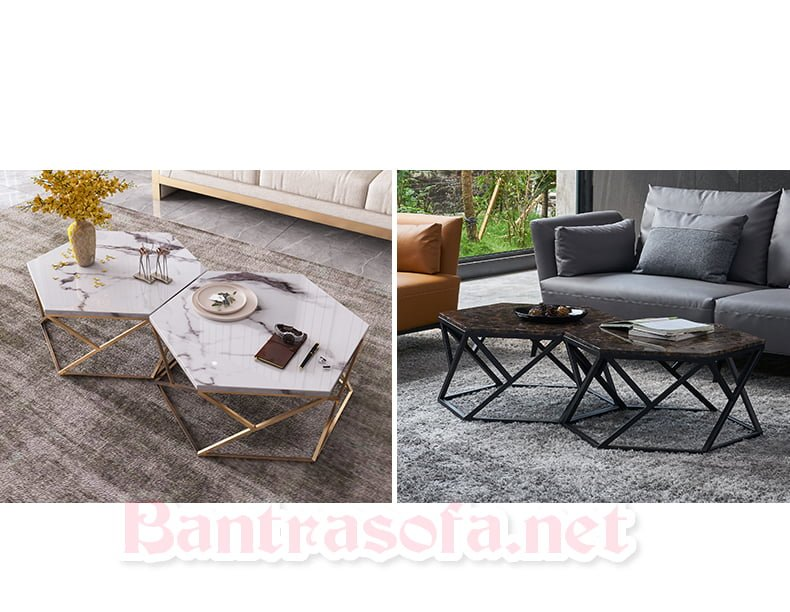 bàn trà sofa mặt đá hình kim cương đôi