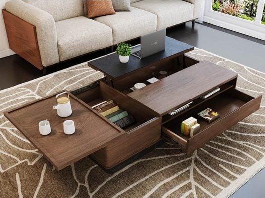 bàn trà đa năng nhiều ngăn bằng gỗ