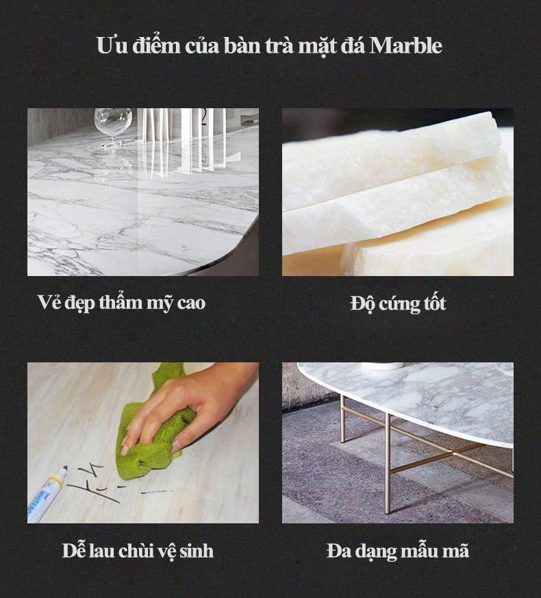 ưu điểm của bàn trà mặt đá marble