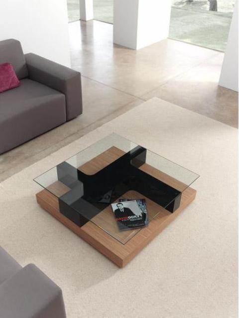 bàn trà sofa hình vuông đế gỗ vuông