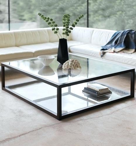 bàn trà mặt kính vuông chân inox đẹp