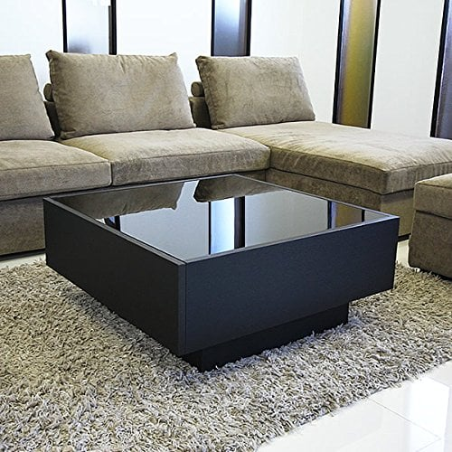 bàn trà màu đen mặt kính