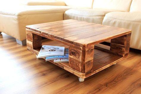 bàn trà bằng gỗ pallet có bánh xe