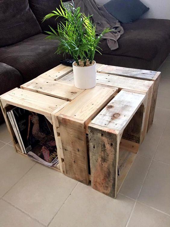 bàn trà bằng gỗ pallet hình vuông