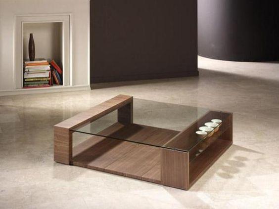 bàn trà mặt kính vuông chân gỗ đẹp