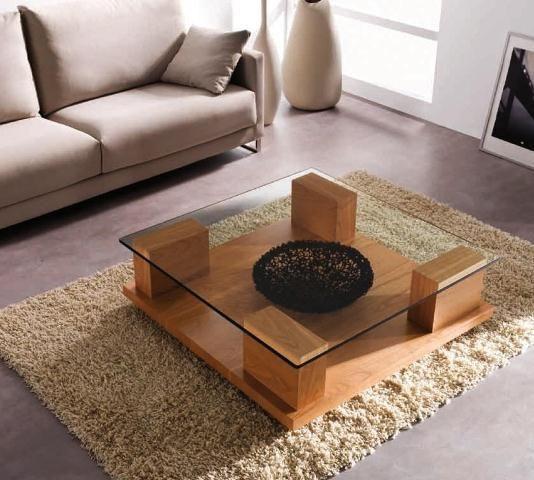 bàn trà gỗ mặt kính vuông trong suốt