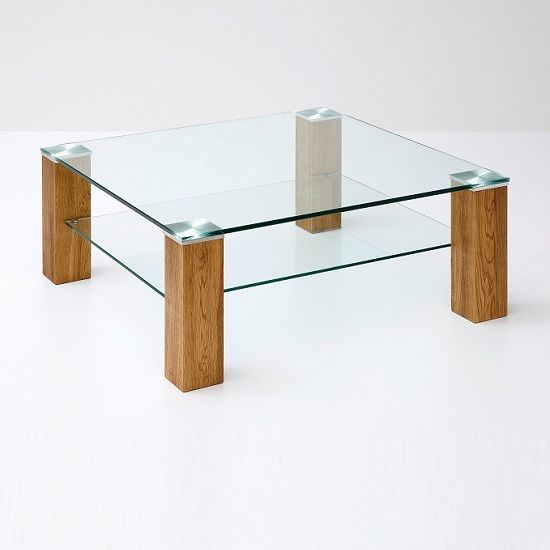 bàn trà 2 tầng chân gỗ mặt kính