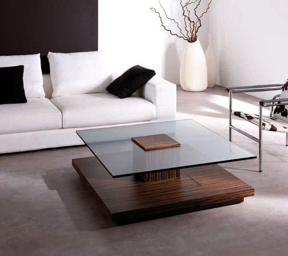 bàn trà kính vuông đế vuông bằng gỗ