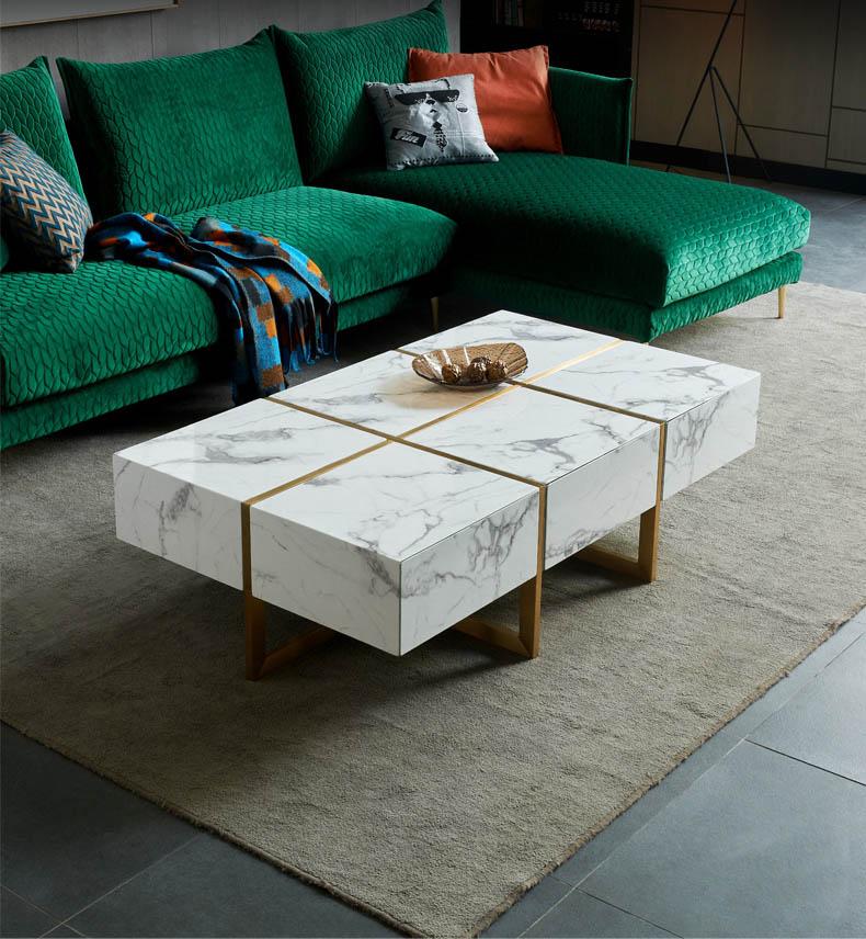 bàn trà mặt đá hình chữ nhật