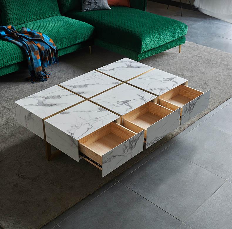 bàn trà sofa mặt đá có 6 ngăn kéo