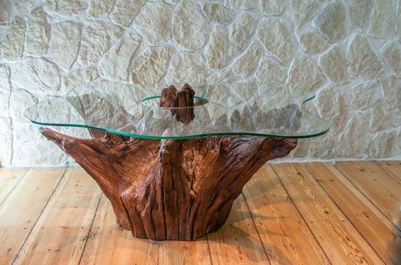 bàn trà gốc cây mặt kính đẹp