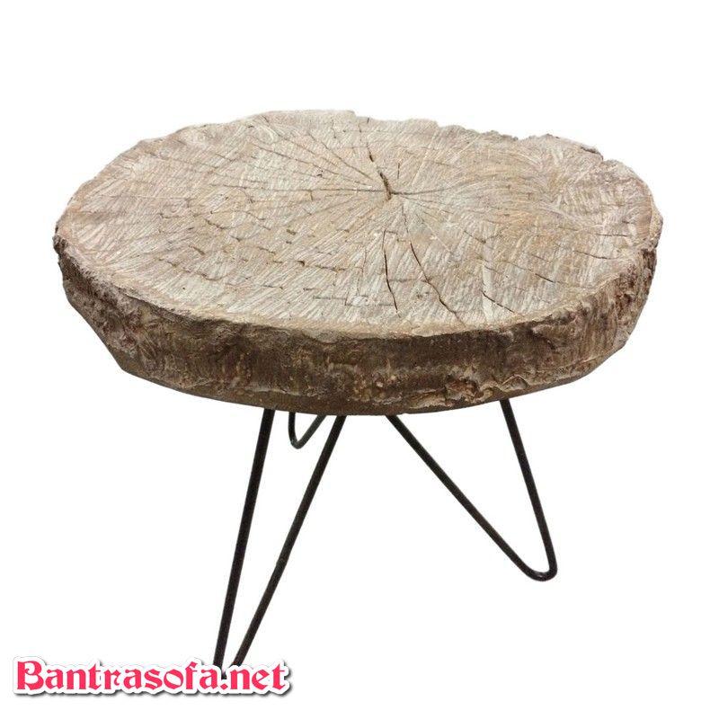 bàn trà gỗ tròn chân sắt