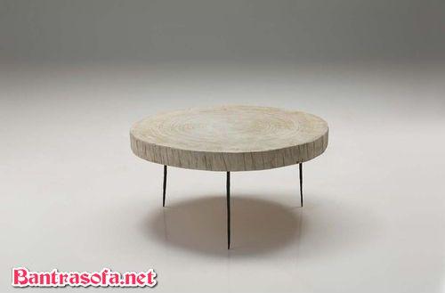 bàn trà gỗ hình tròn chân sắt