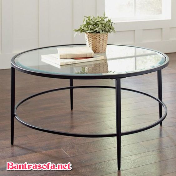 bàn trà tròn khung sắt mặt kính cổ điển