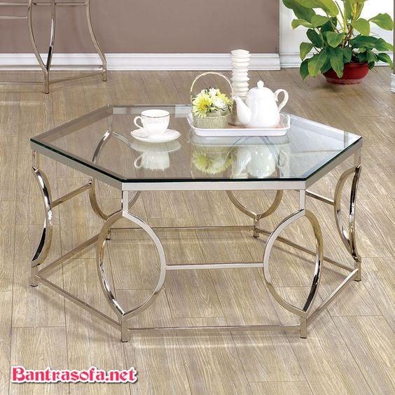 bàn trà sofa mặt kính chân sắt
