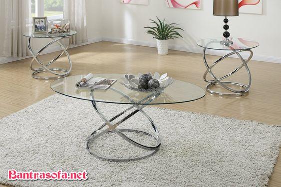 bàn trà hình oval mặt kính chân sắt