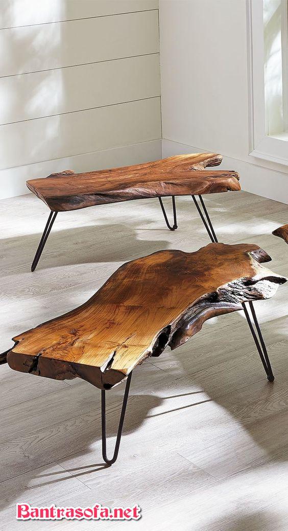 bàn trà thân cây gỗ chân sắt