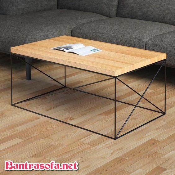 bàn trà hình chữ nhật chân sắt mặt gỗ