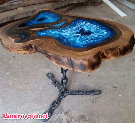 bàn trà gỗ nguyên khối chân xích sắt