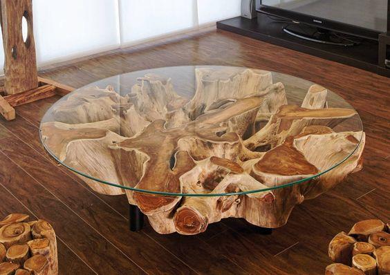bàn trà mặt kính gốc cây đẹp