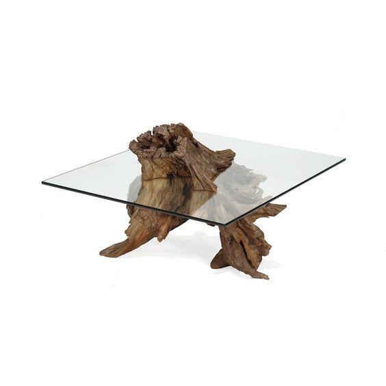 bàn trà kính vuông gốc cây