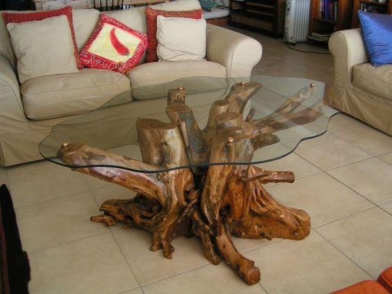 bàn trà gốc cây mặt kính