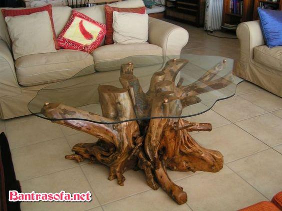 bàn trà mặt kính gốc cây